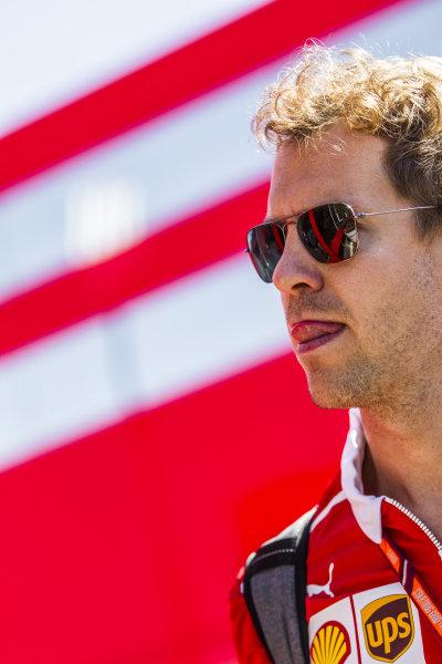 Sebastian Vettel (GER) Ferrari at Formula One World Championship, Rd9, Austrian Grand Prix, Preparations, Spielberg, Austria, Thursday 6 July 2017.