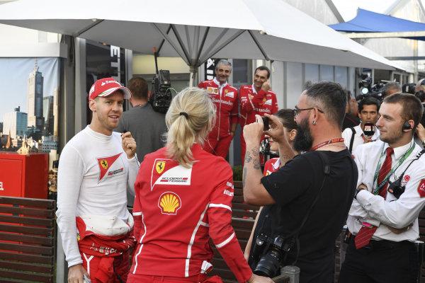 Sebastian Vettel (GER) Ferrari celebrates at Formula One World Championship, Rd1, Australian Grand Prix, Race, Albert Park, Melbourne, Australia, Sunday 26 March 2017.