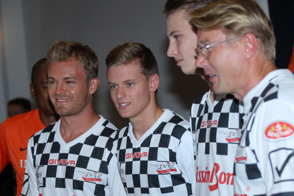 Nico Rosberg (GER) Mercedes AMG F1, Mick Schumacher (GER)  and Mika Hakkinen (FIN) at the Nazionale Piloti Football Match at Formula One World Championship, Rd12, German Grand Prix, Preparations, Hockenheim, Germany, Wednesday 27 July 2016.