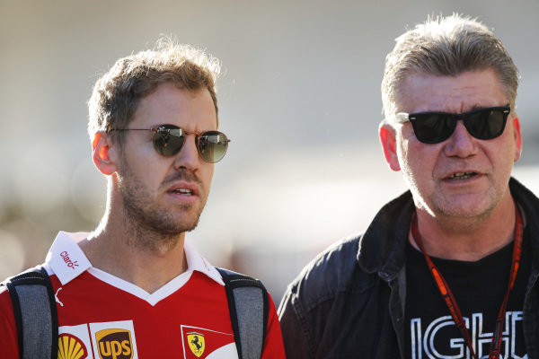 Sebastian Vettel (GER) Ferrari with Ralf Bach, Journalist at Formula One World Championship, Rd18, United States Grand Prix, Practice, Circuit of the Americas, Austin, Texas, USA, Friday 21 October 2016.