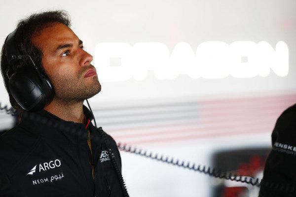Felipe Nasr in the Dragon garage
