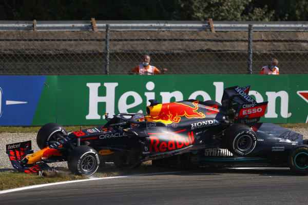 Sir Lewis Hamilton, Mercedes W12 and Max Verstappen, Red Bull Racing RB16B, crash out