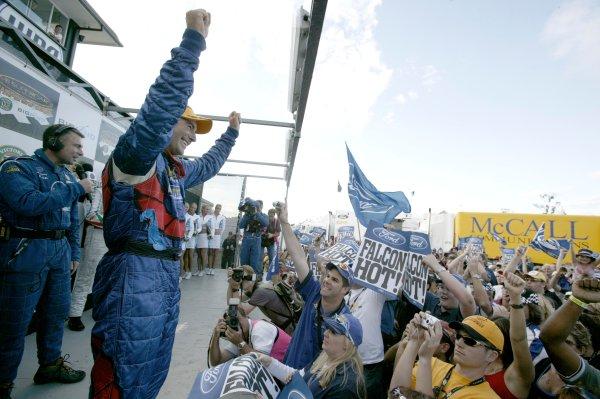 2004 Australian V8 Supercarsrd 6, Queensland Raceway, Brisbane. 4th July.Winner Marcos Ambrose on the podium.World Copyright: Mark Horsburgh/LAT Photographicref: Digital Image Only