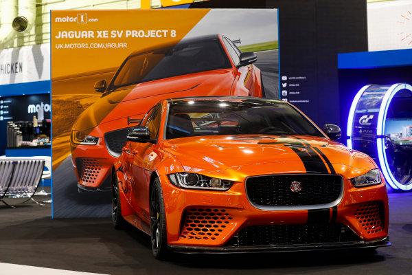 Autosport International Exhibition. National Exhibition Centre, Birmingham, UK. Thursday 11th January 2017. The Jaguar XE SV Project 8.World Copyright: Glenn Dunbar/LAT Images Ref: _X4I4050
