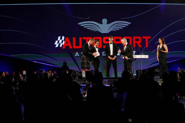 2017 Autosport Awards Grosvenor House Hotel, Park Lane, London. Sunday 3 December 2017. Derek Warwick receives an award from George Russell and Lando Norris. World Copyright: Joe Portlock/LAT Images Ref: Digital Image _o3i6800