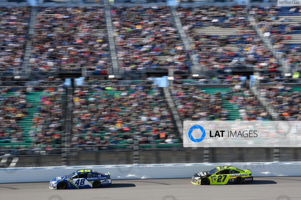 Monster Energy NASCAR Cup Series Hollywood Casino 400 Kansas Speedway, Kansas City, KS USA Sunday 22 October 2017 Jimmie Johnson, Hendrick Motorsports, Lowe's Chevrolet SS, Paul Menard, Richard Childress Racing, Richmond/Menards Chevrolet SS World Copyright: John K Harrelson LAT Images