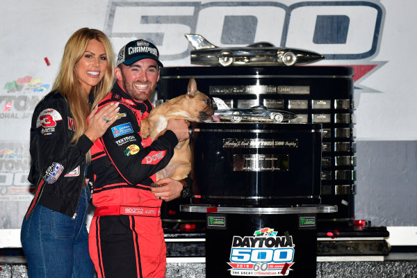Monster Energy NASCAR Cup Series Daytona 500 Daytona International Speedway, Daytona Beach, FL USA Sunday 18 February 2018 Austin Dillon, Richard Childress Racing, Dow Chevrolet Camaro, wife Whitney, and dog Gucci celebrate in victory lane World Copyright: Logan Whitton LAT Images