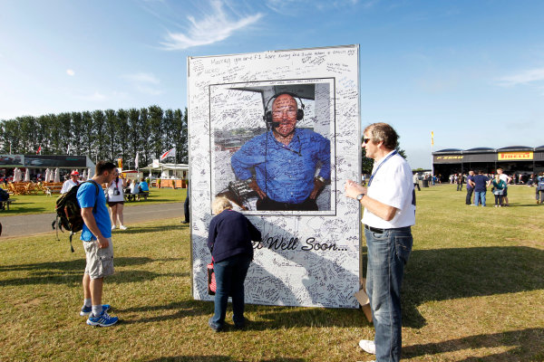 Silverstone, Northamptonshire, England 30th June 2013 Messages from the fans for legendary commentator Murray Walker World Copyright: Jed Leicester/  ref: Digital Image _JEL7657