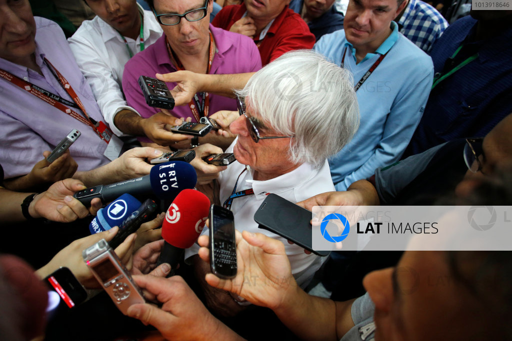 Bahrain International Circuit, Sakhir, Bahrain Friday 19th April 2013 Bernie Ecclestone, CEO, FOM, takes questions from the media. World Copyright: Steven Tee/LAT Photographic ref: Digital Image _L0U0595