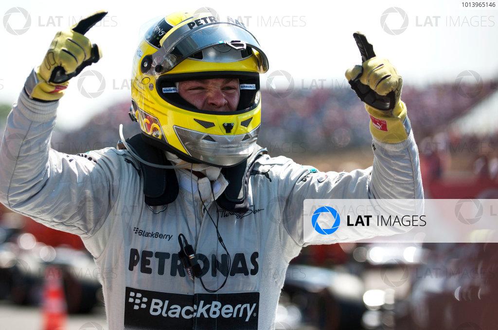 Silverstone, Northamptonshire, England 30th June 2013 Nico Rosberg, Mercedes AMG, 1st position, arrives in Parc Ferme World Copyright: Chris Bird/  ref: Digital Image _CJB6697