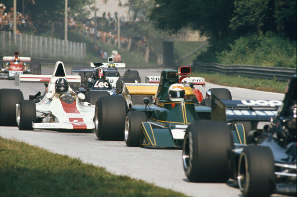 1973 Italian Grand Prix.  Monza, Italy. 7-9th September 1973.  Rikky von Opel, Ensign N173 Ford, leads Graham Hill, Shadow DN1 Ford, Howden Ganley, Williams IR03 Ford, David Purley, March 731 Ford, and Wilson Fittipaldi, Brabham BT42 Ford.  Ref: 73ITA43. World copyright: LAT Photographic