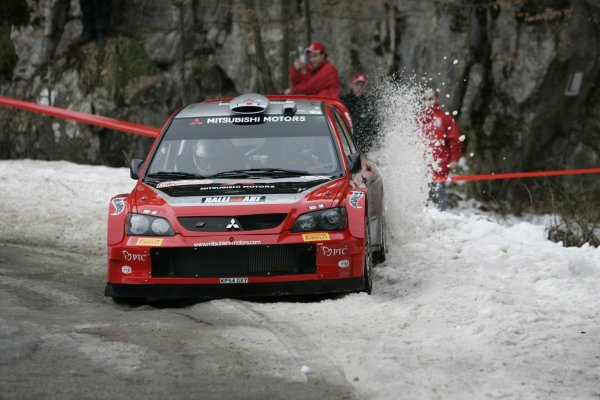 2005 FIA World Rally ChampionshipRound 1, Monte Carlo Rally. 20th - 23rd January 2005.Gilles Panizzi (Mitsubishi Lancer WRC), action.World Copyright: McKlein/LAT Photographic.ref: Digital image.
