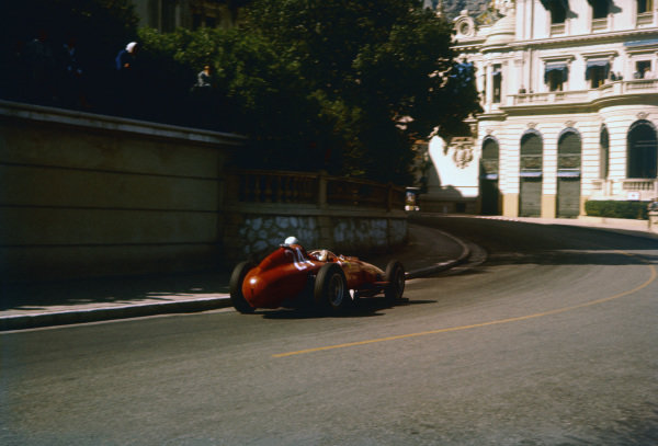 Monte Carlo, Monaco. 16-19 May 1957. Wolfgang von Trips (Lancia-Ferrari D50 801), shared with Mike Hawthorn. Ref-57 MON 23. World Copyright - LAT Photographic