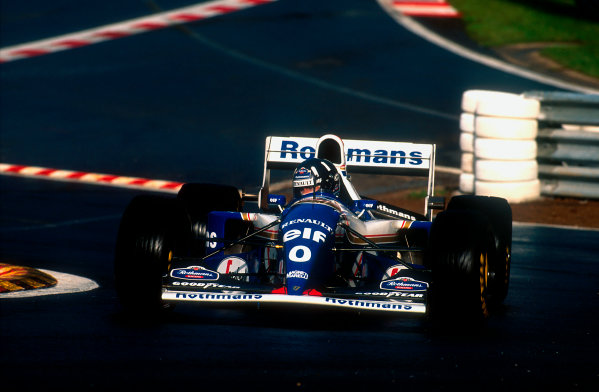 1994 Belgian Grand Prix.Spa-Francorchamps, Belgian.26-28 August 1994.Damon Hill (Williams FW16B Renault) 1st position at the reformed Eau Rouge.Ref-94 BEL 10.World Copyright - LAT Photographic