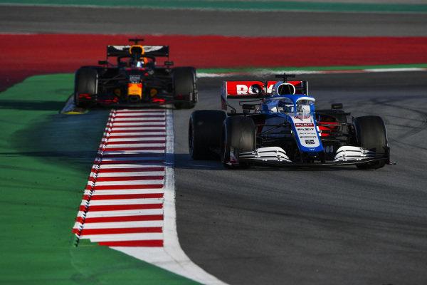 Nicholas Latifi, Williams FW43, leads Alexander Albon, Red Bull Racing