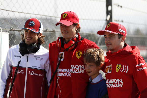 (L to R): Antonio Giovinazzi, Alfa Romeo Racing, John Elkann, FIAT Chairman with his son and Charles Leclerc, Ferrari