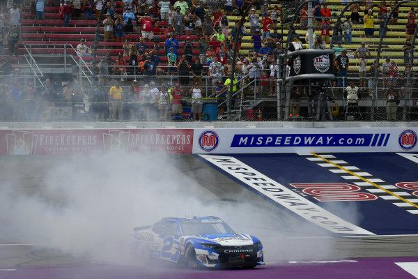 #2: Tyler Reddick, Richard Childress Racing, Chevrolet Camaro KC Motorgroup celebrates with a burnout after winning