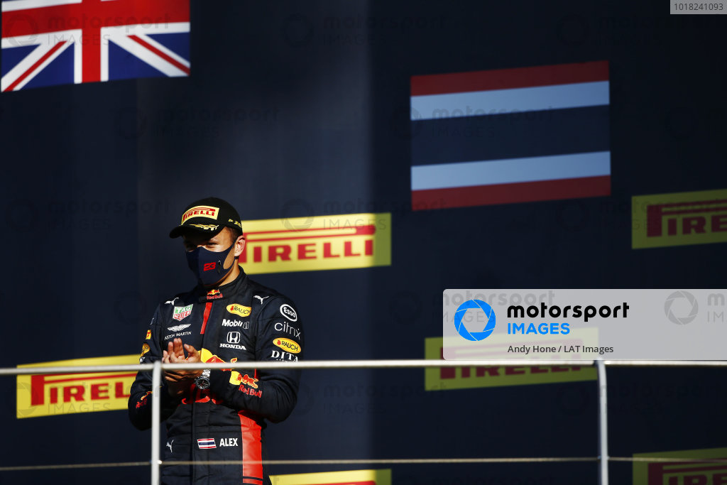 Alexander Albon, Red Bull Racing, celebrates on the podium