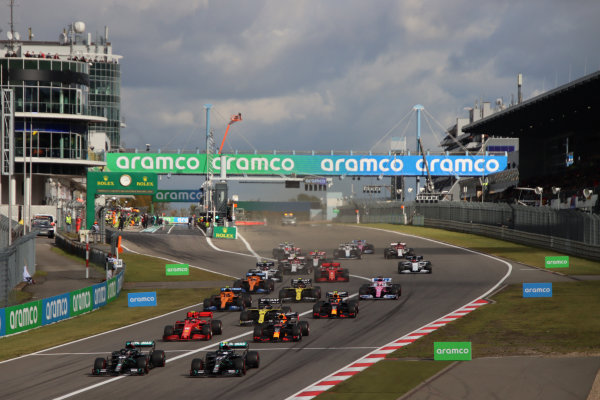 The start pf the race. Lewis Hamilton, Mercedes F1 W11 EQ Performance, noses ahead of team-mate Valtteri Bottas, Mercedes F1 W11 EQ Performance. Charles Leclerc, Ferrari SF1000, follows in third, ahead of Max Verstappen, Red Bull Racing RB16, Daniel Ricciardo, Renault R.S.20, Lando Norris, McLaren MCL35, Alexander Albon, Red Bull Racing RB16, Sergio Perez, Racing Point RP20, Carlos Sainz, McLaren MCL35 and the rest of the pack
