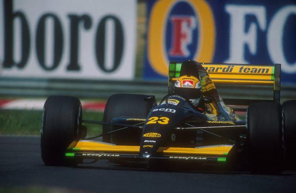 1991 Hungarian Grand Prix.Hungaroring, Budapest, Hungary.9-11 August 1991.Pierluigi Martini (Mardini M191 Ferrari). He exited the race with an engine failure.Ref-91 HUN 03.World Copyright - LAT Photographic