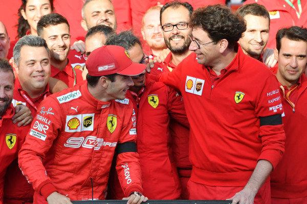Charles Leclerc, Ferrari, Mattia Binotto, Team Principal Ferrari, and the Ferrari team celebrate victory