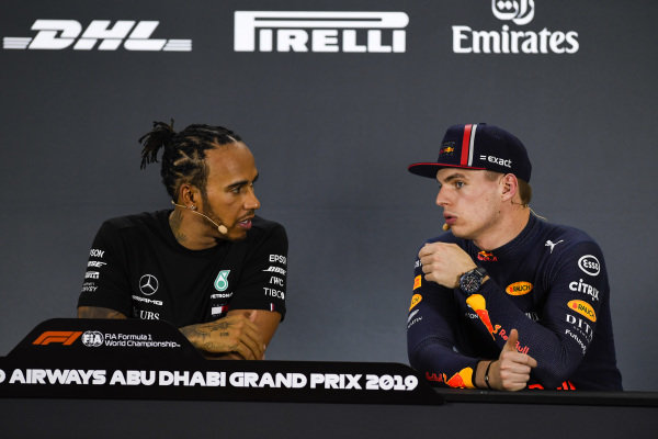 Pole man Lewis Hamilton, Mercedes AMG F1, and Max Verstappen, Red Bull Racing, in the post Qualifying Press Conference