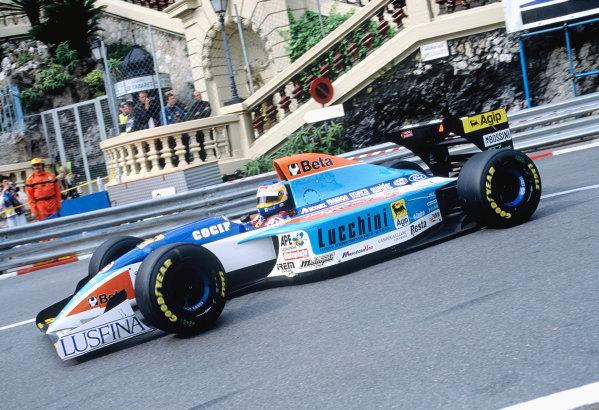 1994 Monaco Grand Prix.Monte Carlo, Monaco. 12-15 May 1994.Michele Alboreto (Minardi M193B Ford) 6th position, at Loews Hairpin.Ref-94 MON 84.World Copyright - LAT Photographic