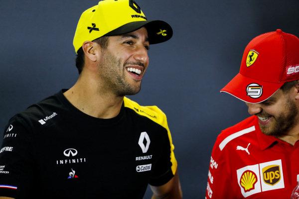 Daniel Ricciardo, Renault F1 Team and Sebastian Vettel, Ferrari in Press Conference