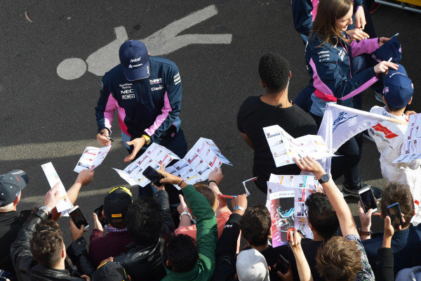Sergio Perez, Racing Point, signs autographs for fans at the Federation Square event