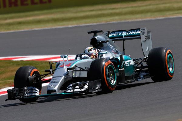 Silverstone Circuit, Northamptonshire, England. Friday 3 July 2015. Lewis Hamilton, Mercedes F1 W06 Hybrid. World Copyright: Andrew Ferraro/LAT Photographic ref: Digital Image _FER0571
