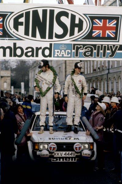 1980 World Rally Championship.Lombard RAC Rally, Great Britain. 16-19 November 1980.Henri Toivonen/Paul White (Talbot Sunbeam Lotus), 1st position. Podium.World Copyright: LAT PhotographicRef: 35mm transparency 80RALLY11