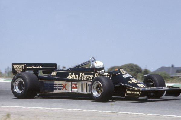 1981 Spanish Grand Prix.Jarama, Spain. 19-21 June 1981.Elio de Angelis (Lotus 87-Ford Cosworth), 5th position.World Copyright: LAT PhotographicRef: 35mm transparency 81ESP29