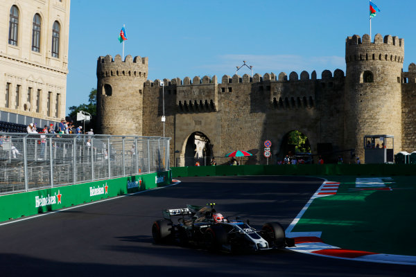 Baku City Circuit, Baku, Azerbaijan. Friday 23 June 2017. Kevin Magnussen, Haas VF-17 Ferrari.  World Copyright: Steven Tee/LAT Images ref: Digital Image _R3I2528