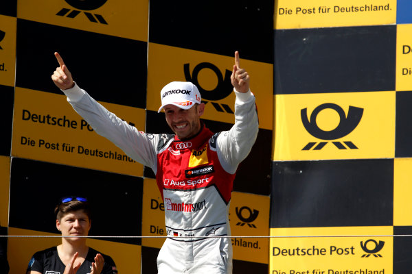 2017 DTM Round 3 Hungaroring, Budapest, Hungary. Sunday 18 June 2017. Podium: Race winner René Rast, Audi Sport Team Rosberg, Audi RS 5 DTM World Copyright: Alexander Trienitz/LAT Images ref: Digital Image 2017-DTM-R3-HUN-AT1-2709