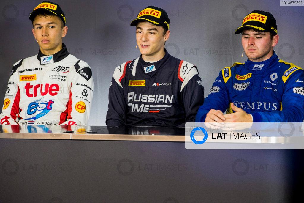 2017 FIA Formula 2 Round 5. Red Bull Ring, Spielberg, Austria. Sunday 9 July 2017. Alexander Albon (THA, ART Grand Prix), Artem Markelov (RUS, RUSSIAN TIME) and Oliver Rowland (GBR, DAMS).  Photo: Zak Mauger/FIA Formula 2. ref: Digital Image _54I0464