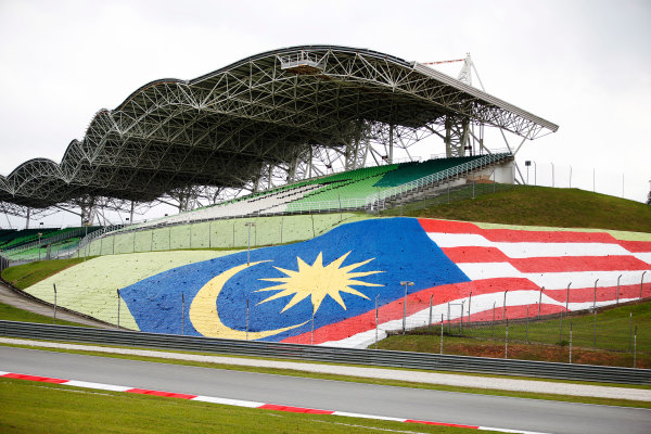 Sepang International Circuit, Sepang, Malaysia. Thursday 28 September 2017. The Malaysian flag is painted on a hillside beneath a grandstand. World Copyright: Zak Mauger/LAT Images  ref: Digital Image _X0W6776