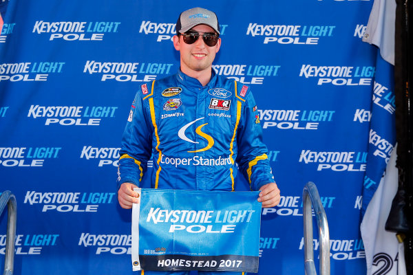 NASCAR Camping World Truck Series Ford EcoBoost 200 Homestead-Miami Speedway, Homestead, FL USA Friday 17 November 2017 Chase Briscoe, Cooper Standard Ford F150 pole award World Copyright: Russell LaBounty LAT Images