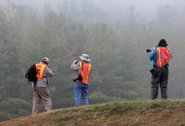 27-28 September, 2013, Lakeville, Connecticut USA Photographers shoot pre race warmup on a foggy morning. ©2013, R.D. Ethan LAT Photo USA