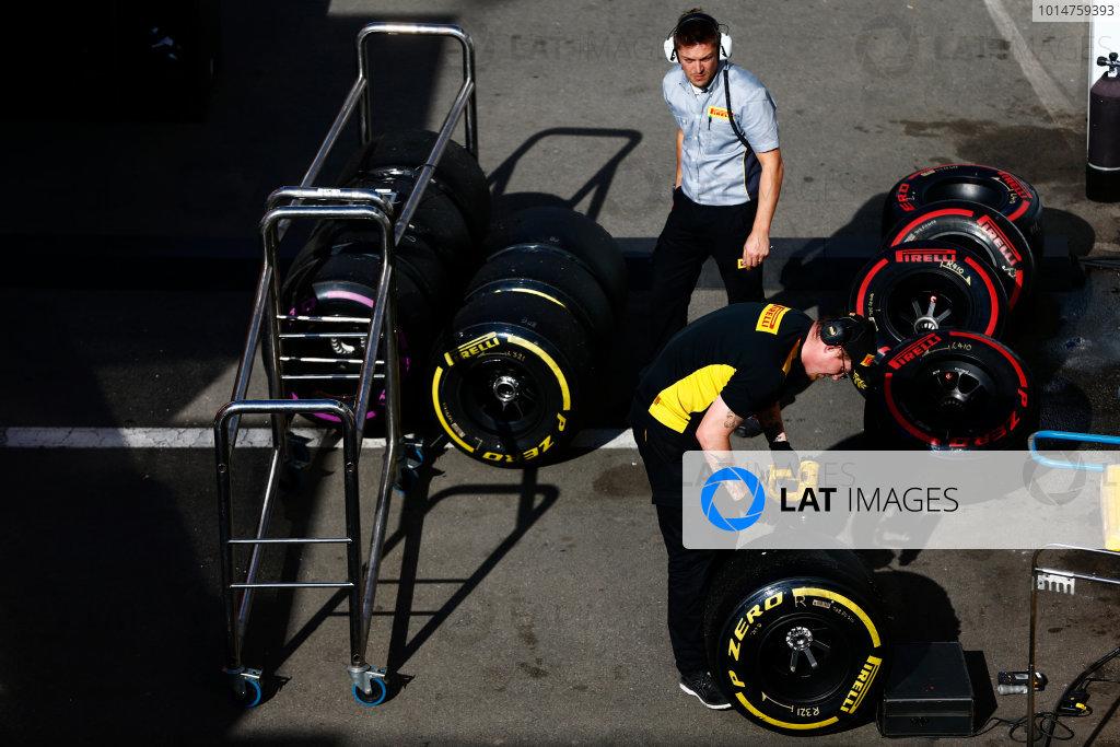 Circuit de Barcelona Catalunya, Barcelona, Spain. Friday 10 March 2017. Pirelli technicians work on soft and super-soft tyres. World Copyright: Zak Mauger/LAT Images ref: Digital Image _L0U6125