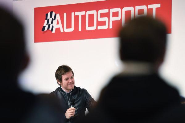 Autosport International Exhibition. National Exhibition Centre, Birmingham, UK. Sunday 15 January 2017. Rob Smedley talks to Henry Hope-Frost. World Copyright: Sam Bagnall/LAT Images Ref: DSC_5712