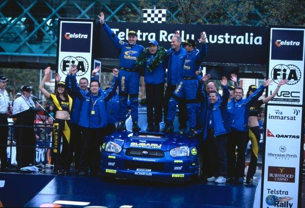2003 World Rally ChampionshipRally Australia. 3rd - 7th September 2003Rally winner Petter Solberg/Philip Mills (Subaru Impreza WRC 2003), podium.World Copyright: McKlein/LAT Photographicref: 35mm Image A04
