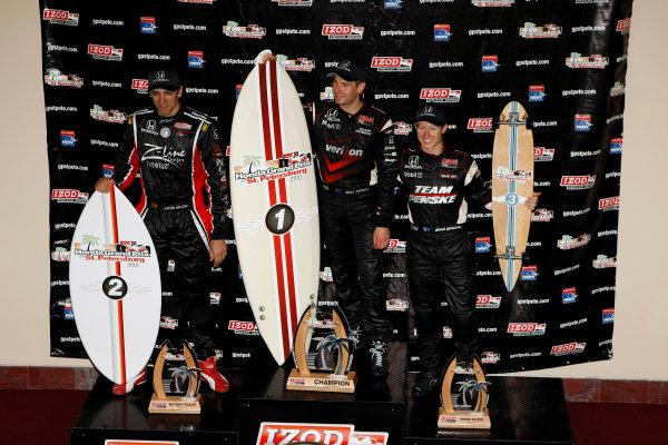 26-28 March, 2010, St. Petersburg, Florida, USAWill Power, Justin Wilson and Ryan Briscoe on the podium.©2010 Phillip Abbott, USALAT Photographic