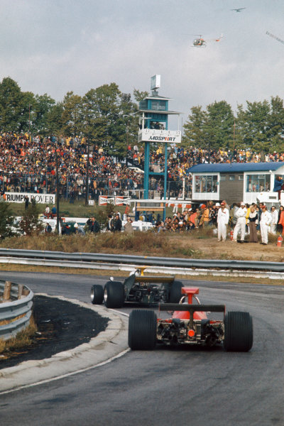 1973 Canadian Grand Prix.  Mosport Park, Ontario, Canada. 21st-23rd September 1973.  Rikky von Opel, Ensign N173 Ford, leads Arturo Merzario, Ferrari 312B3.  Ref: 73CAN51. World copyright: LAT Photographic