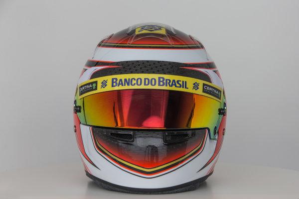 Hinwil, Switzerland. Thursday 29 January 2015. Helmet of Raffaele Marciello, Test and Reserve Driver, Sauber.  World Copyright: Sauber F1 Team (Copyright Free FOR EDITORIAL USE ONLY) ref: Digital Image 2015_SAUBER_HELMET_16