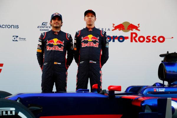Toro Rosso STR12 Formula 1 Launch. Barcelona, Spain  Sunday 26 February 2017. Carlos Sainz Jr, Toro Rosso. and Daniil Kvyat, Toro Rosso.   World Copyright: Dunbar/LAT Images Ref: _X4I9475