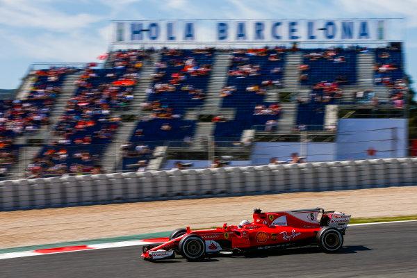 Circuit de Catalunya, Barcelona, Spain. Saturday 13 May 2017. Sebastian Vettel, Ferrari SF70H. World Copyright: Andy Hone/LAT Images ref: Digital Image _ONZ4900