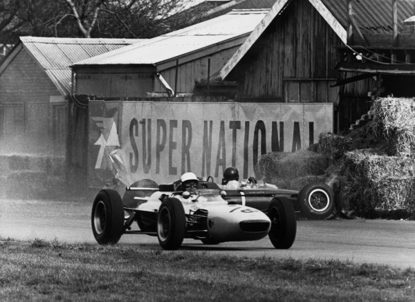 Aintree, England. 18th April 1964.Jim Clark (Lotus 33-Climax), retired, walks away from this high speed crash at the Melling Crossing, action. World Copyright: David Hudson/LAT Photographic.Ref:  DH - 64AIN - Neg26A-27.