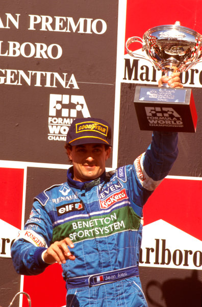 Buenos Aires, Argentina.5-7 April 1996.Jean Alesi (Benetton Renault) 3rd position on the podium.Ref-96 ARG 02.World Copyright - LAT Photographic