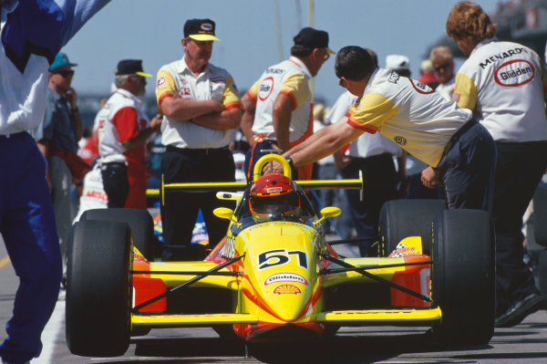 1993 Indianapolis 500. Indianapolis Motor Speedway, Indiana, USA. 30th May 1993. Gary Bettenhausen (Lola T9300-Menard), 17th position, in the pit lane, portrait. World Copyright: LAT Photographic. Ref: 93 INDY 08.