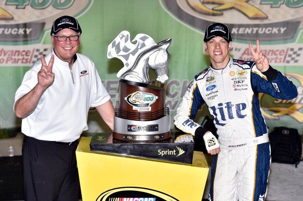27-28 June, 2014, Sparta, Kentucky USA Brad Keselowski celebrates his win in Victory Lane ?2014, Nigel Kinrade LAT Photo USA